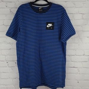 Nike Air Black And Blue Striped Short Sleeve Shirt
